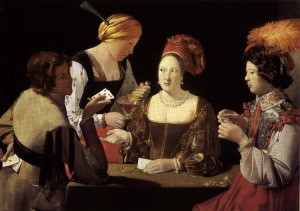 Le Tricheur à l'as de carreau (The Cheat with the Ace of Diamonds), painted by Georges de La Tour (1593-1652)