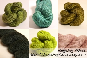 Hedgehog Fibres.  L-R: (Top Row) Meadow Cashmere/Silk Worsted, Malachite Silk Singles, Bronzed Lead Silk Singles; (Bottom Row) Drift Away Merino/Bamboo/Silk Fingering, Signal Cashmere/Silk Worsted, Shell Silk/Merino Worsted